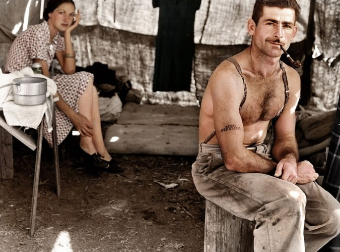 UNEMPLOYED LUMBER WORKER AND WIFE, ca. 1939