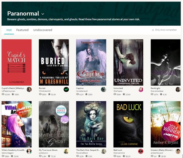 top 10 paranormal books on Wattpad